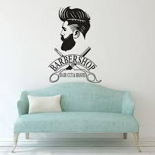 Men Barbershop Sign Wall Stickers Mural Barber Shop Logo Sticker Window Decal