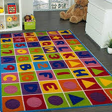 Amazon Com Kids Rug Numbers And Letters Area Rug 5 X 7 Children Area Rug For Playroom Nursery Non Skid Gel Backing 59 X 82 Kitchen Dining