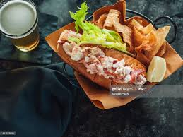 Lobster Roll With Chips And Beer High ...