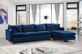meridian naomi velvet sectional sofa