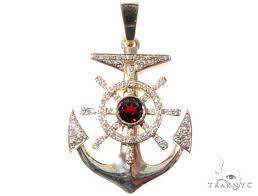 diamond anchor pendant 64475 mens