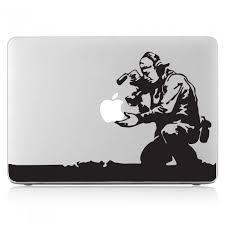 Banksy Cameraman And Apple Laptop Macbook Vinyl Decal Sticker