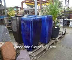 tall milan blue glazed pot planters