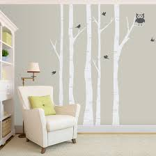 Birch Tree Wall Decal With Birds Tree And Owl Wall Decal