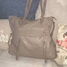 taupe brown leather tote bag