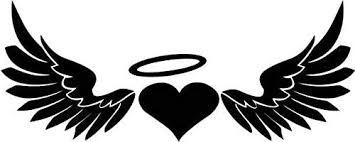Amazon Com Heart Angel Wings Halo Vinyl Decal Sticker Bumper Car Truck Window 8 Wide Gloss White Color Home Kitchen