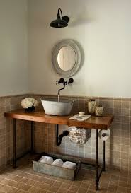rustic powder room vanities with metal