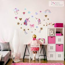 Unicorn Wall Decal 66pcs Unicorn Wall Decor Stickers Decals For Kids Rooms Gifts For Girls Boys Bedroom Nursery Home Unicorn Rainbow Shop