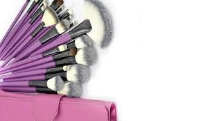 purple tulip makeup brush set 24 piece