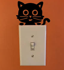 Vinyl Wall Sticker Switch Humorous Cute Black Cat Removable Light Switch Sticke For Sale Online Ebay