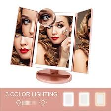 fascinate trifold lighted makeup mirror