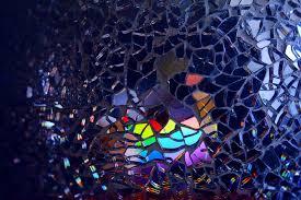 multicolored broken mirror decor art