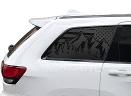 Amazon Com Mountain Scene American Flag Decal For Jeep Grand Cherokee 4 Door Matte Black Wk9 A Handmade