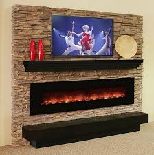 fireplace beneath the tv