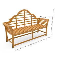 3 seater lutyens wooden garden bench