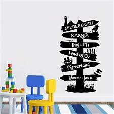 Amazon Com Wall Decal Vinyl Sticker Storybook Signpost Fandom Harry Potter Lord Of The Ring Narnia Peter Pan Typography Door Murals Home Kitchen