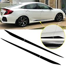 Xotic Tech Car Side Skirt Stripe Vinyl Sticker Lower Door Panel Decal Molding Trim For Honda Civic 2016 2019 Black Walmart Com Walmart Com