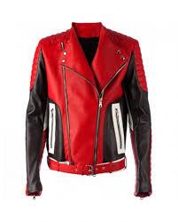 men fashion biker s red leather jacket