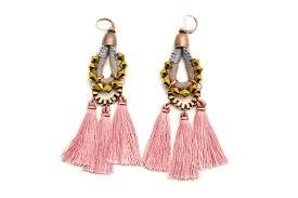 pink tassel earrings large chandelier