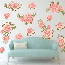 Amazon Com Decalmile Pink Rose Flower Wall Decals Removable Wall Stickers Art Diy Home Decor Bedroom Living Room Decoration Home Improvement