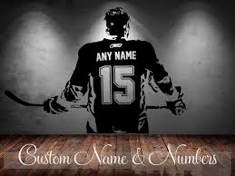 Hockey Player Art Decal Sticker Choose Name Number Personalized Home Decor Wall Stickers For Kids Room Vinilos Paredes D645 Q190531 Wall Vinyl Stickers Wall Vinyls From Yiwang08 13 82 Dhgate Com