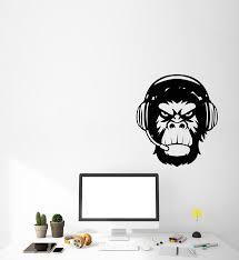 Vinyl Wall Decal Monkey Head In Headphones Gamer Stickers 3590ig Wallstickers4you