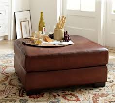 turner leather ottoman pottery barn