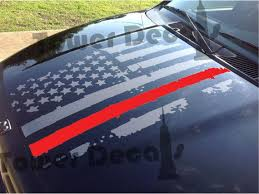 Distressed American Flag Hood Thin Red Line Fire Fighters Decal Fits Jeeps Dodge Ram Ford Chevy Trucks Chevy Trucks Chevy Diesel Trucks Diesel Trucks