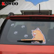 Kawoo Car Styling Hot Sales Cartoon Funny Cat Moving Tail Animal Stickers Car Rear Window Wiper Decals Sticker Auto Accessories Car Stickers Aliexpress