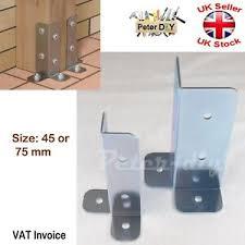Galvanised Bolt Down Base Post Support One Corner Fence Foot Base Bracket Ebay