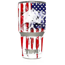 Skin Decal For Yeti 30 Oz Tumbler Cup 6 Piece Kit U S A Flag Skull Drip For Sale Online