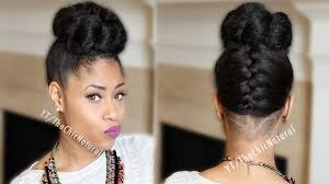 fab french braided bun updo on natural