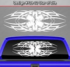 102 02 Star Of Life Tribal Rear Window Decal Sticker Vinyl Graphic Emt Ems Car