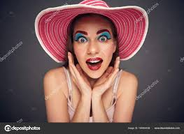 funny face portrait woman wearing
