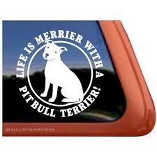 Life Is Merrier With A Pit Bull Terrier High Quality Vinyl Pitbull Apbt Window Decal Walmart Com Walmart Com