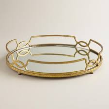 gold mirrored tabletop tray metal by