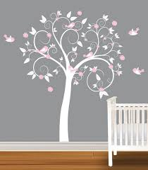Children Wall Decal White Pink Girls Nursery Vinyl Wall Stickers Flowers Owls Curl Tree 99 99 Via Etsy Baby Girl Room Girl Room Girl Nursery Pink