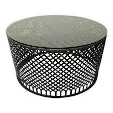 metal base glass top drum coffee table