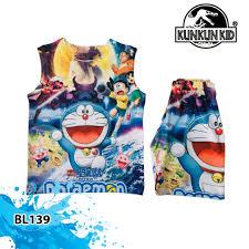 Bộ Quần áo Thun 3 Lổ Bé trai In 3D hình Doremon Xanh Đậm