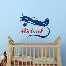 Airplane Wall Decal Personalized Boy From Fabwalldecals On Etsy