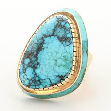 Don (Juan) Johnson Navajo Diné 14K Yellow Gold Turquoise Ring ...