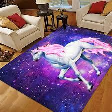 Amazon Com Unicorn Rugs 5x7 Cute Unicorn Horse Area Rugs For Girls Kids Bedroom Large Area Rugs Kitchen Dining