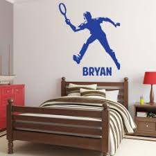 Tennis Wall Decals Personalized Male Tennis Player Serving Customvinyldecor Com