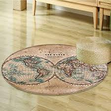 small round rug carpet earth tones map