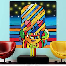 Skull Stripes Wall Mural Decal Pop Art Psychedelic Decor At Retro Planet