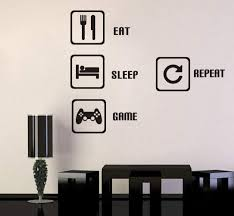 Amazon Com Toarti Eat Sleep Game Repeat Wall Sticker Video Gamer Wall Sticker Game Room Decor Children Gift Nursery Boys Room Wall Vinyl Decal Lettering Stickers Home Decor Home Kitchen