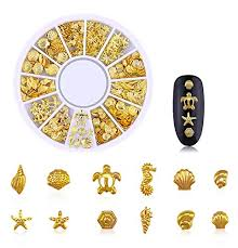 Amazon Com Pandahall 3 Boxes 3d Gold Nail Art Decorations Beach Ocean Theme Metal Nail Decals Studs Sea Shell Starfish Rivet Micro Caviar Beads Mixed For Women Fingernails Toenails Diy Accessories Beauty