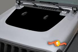 Product Jeep Gladiator Side Jt Wrangler Jl Jlu Hood Solid Style Vinyl Decal Sticker Graphics Kit For 2018 2021 For Both Sides