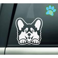 Corgi Peeking Car Decal Corgi Car Sticker Decals For Corgi Dog Lover Mom Dad Grandma Sitter Decals For Women Grand Dog Peek A Boo Grand Dog Corgi Dog Corgi