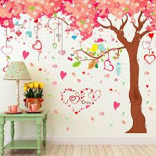 Amaonma Giant Huge Pink Cherry Tree Wall Decals Cute Cartoon Removable Large Tree Lovely Heart Shape Wall Sticker Peel Stick For Kids Girls Bedroom Livingroom Tv Background Walmart Com Walmart Com